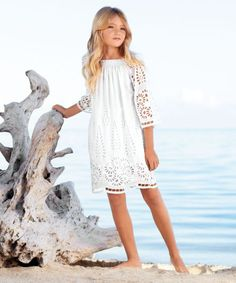Wisteria Eyelet Dress ~ girl is sure to feel beautiful in this ethereal style. Floral eyelet fabric borders the hem and makes up the bell sleeves, floating over a gauzy lining. The shirred neckline adds a romantic touch. Little Fashionista, Preteen Fashion, Kids Fashion, Mode Outfits, Girl Outfits, Cute Dresses, Flower Girl Dresses, Flower Girls, Summer Dresses