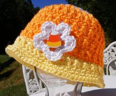Candy Corn Crochet Hat Pattern Newborn to Adult Small Easy Triple or Single Flower  Permission to Sell No.26. $4.50, via Etsy.