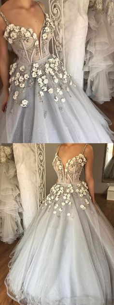 2018 Spring gray tulle spaghetti straps sexy long beaded evening dress with 3D flowers