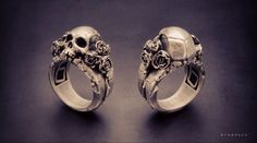 Skull and Roses - Sterling Silver