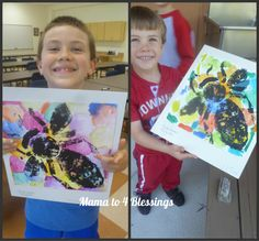 The kids were given hexagon (to resemble a beehive comb) cardstock shapes and they traced this shap all throughout their pictures and then they pained each hextagon shape in a different watercolor paint. Then inked and printed a pre-assembled cardboard bee on top.