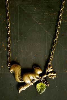 Squirrel Nutkin Necklace by ForYouByQ on Etsy, $21.00