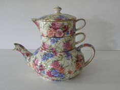 VINTAGE ROYAL WINTON CHINTZ MAYFAIR 3 PIECE STACKING TEA POT TEAPOT SET $ 250.00