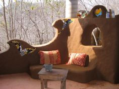 Beautiful outdoor space.  Cob house by House Alive Building and Design.