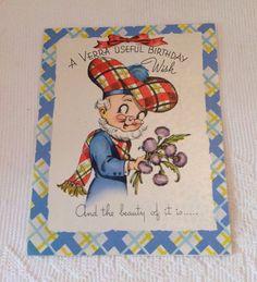 Vintage 1950's Scottish man birthday card, cute retro birthday card, mid century birthday card by LakesideVintageShop on Etsy