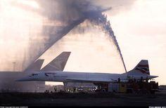 British Airways Aerospatiale-British Aerospace Concorde 102. London Heathrow (LHR) October 24, 2003.  G-BOAG (cn 214) Special Salute for a farewell.