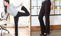 The Boot-Flare Black Dress Pant Yoga Pants are business-slack-styled boot-cut pants that are made with a soft-and-stretchy performance knit.