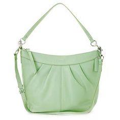 Women's Soho Pleated Sage Leather Shoulder Bag: Sage Shoulder