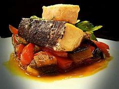 Pesce spada alla plancha su caponata di verdure