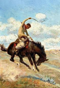 Elling William Gollings [1878 – 1932] -   Adept at various media, the cowboy artist relied on firsthand experience for his impeccable Western art.  www.westernartandarchitecture.com  Bucking Horse, 1917 | Oil | 11 x 7.5 inches