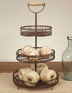 New French Country Rustic Primitive THREE TIER BASKET Tray Stand