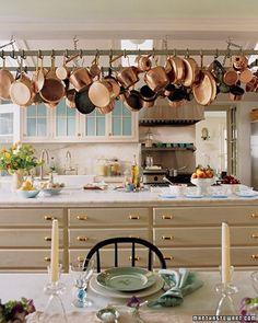martha stewart kitchen - wide spaced brass drawer pulls