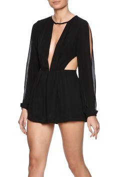 Black long sleeve romper with slit shoulders, deep v front cut out and side cut outs.   Cutout Romper by Evenuel. Clothing - Jumpsuits & Rompers - Rompers New York City Manhattan, New York City