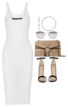 """#Style"" by rosana-storyofmylife ❤ liked on Polyvore featuring Enza Costa, Gucci, Manolo Blahnik and Linda Farrow"