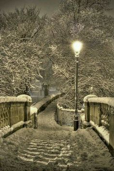 Snow in the night time, lovely..