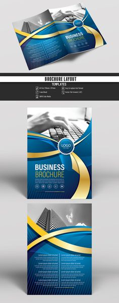 Brochure Cover Layout with Blue and Yellow Accents Buy this stock template and explore similar templates at Adobe Stock Brochure Cover, Brochure Layout, Brochure Template, Flyer Template, Brochure Ideas, Pamphlet Design, Booklet Design, Corporate Brochure Design, Business Brochure