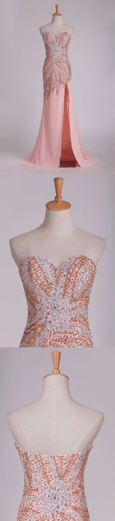 2020 New Arrival Beaded Bodice Chiffon With Slit Sheath Sweep Train Prom PPS3HAG7, This dress could be custom made, there are no extra cost to do custom size and color Split Prom Dresses, Prom Dresses Online, Mermaid Prom Dresses, Cheap Evening Dresses, Cheap Prom Dresses, Sweetheart Prom Dress, Special Occasion Dresses, Bodice, Chiffon