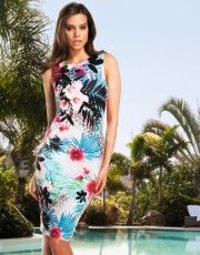Lipsy Hawaiian Glitter Bodycon Dress