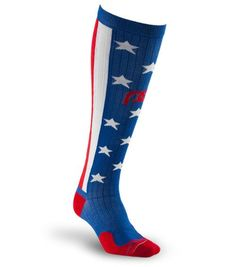 Get maximum recovery with Marathon Stars and Stripes full-length, graduated compression sock by PRO Compression. #4thofjulyrunninggear #teamsparkle