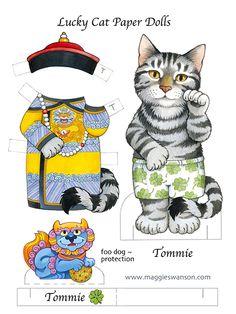 Lucky Cat Paper Dolls Published by Dover Diy Paper, Paper Crafts, Paper Dolls Clothing, Cat Magazine, Paper Dolls Printable, Maneki Neko, Thinking Day, Vintage Artwork, Vintage Paper Dolls