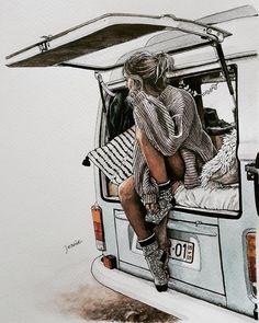 """좋아요 334개, 댓글 8개 - Instagram의 Jeanie(@jeanie_artwork)님: """". Camp-road-trip . . . . . . . . #drawing #painting #watercolor #pendrawing #art #artwork…"""" Cartoon Kunst, Cartoon Art, Art And Illustration, Illustrations, Art Sketches, Art Drawings, Horse Drawings, Drawing Art, Cute Girl Drawing"""