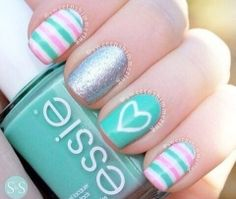 Today I present you a big nail art picture collection called 37 Cute Nail Art Designs with pictures of perfect manicure ideas by professional nail technicians. These nail arts are perfect for women who want. Fabulous Nails, Gorgeous Nails, Love Nails, Pretty Nails, Teal Nails, Nail Pink, Nail Nail, White Nails, Cute Nail Art