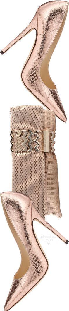 Jimmy Choo Anouk Ballet Pink Metallic Elaphe Pumps and Chandra Bag | LOLO❤