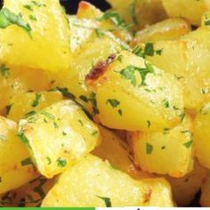 Potatoes with garlic and coriander - substitute parsley if you hate coriander