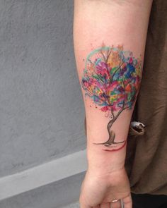 Watercolour tree tattoo