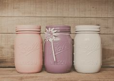 3 Pastel Painted mason jars. Colored jars. door StyleJarsandCans, $26.00