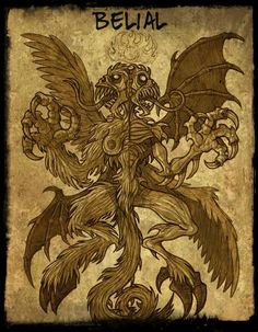 Belial is one of the most important and evil Demons, who is deceptively beautiful in appearance and soft in voice, but full of treachery, recklessness, Evil Demons, Angels And Demons, Baphomet, Fantasy Creatures, Mythical Creatures, Magick, Witchcraft, Myths & Monsters, Satanic Art