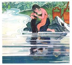 Huang Jing, from a series of illustrations for THE LONG-HAIRED MAIDEN, 1986
