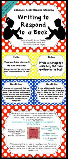 Everything you need to implement an independent readers response notebook for 3rd-5th grade! Included are directions and pictures on how to set up your notebooks at the beginning of the school year, 48 reading response prompts (enough for one each week and a few left over!), and poster-like instruction sheets on different response styles. #ReaderResponse #InteractiveNotebook $