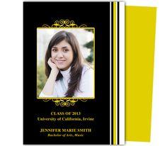 Graduation Announcements Templates : Printable DIY Vertical Graduation Announcement Template with photo box on cover design. Customize your school colors.
