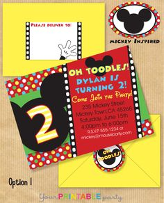 Mickey Mouse Inspired Deluxe Birthday Party INVITATION 5x7 with Address Labels also now includes Envelope Template - Print yourself. $14.00, via Etsy.