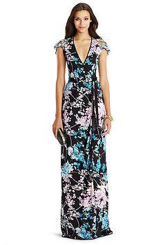 DVF V Embellished Wrap Gown in in Floral Daze Sky Mauve/ Black