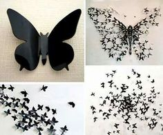 Butterfly Diy Bathroom Wall Grey Black And White Butterflies
