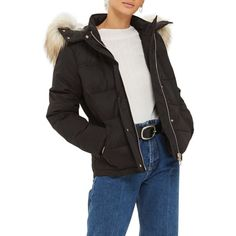 Women's Topshop Jerry Faux Fur Trim Puffer Jacket ($135) ❤ liked on Polyvore featuring outerwear, jackets, black, faux fur trim puffer jacket, puff jacket, fake fur jacket, faux fur puffer jacket and puffer jacket