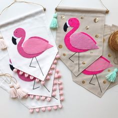 Single sided banner made from quality cotton fabric, machine stitched on all sides. Beautifully detailed, hand cut and hand stitched felt flamingo,. Felt Crafts, Diy And Crafts, Crafts For Kids, Arts And Crafts, Flamingo Craft, Flamingo Party, Tropical Nursery, Sewing Projects, Projects To Try