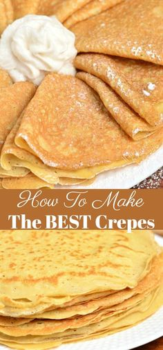 Crepe are delicately soft with a little crunch on the ends. Learn how to make th… Crepe are delicately soft with a little crunch on the ends. Learn how to make these soft and buttery classic Crepes in no time and a few simple ingredients. Crepe Recipes, Brunch Recipes, Gourmet Recipes, Dessert Recipes, Cooking Recipes, Crepe Recipe No Eggs, Brunch Ideas, Simple Crepe Recipe, Brunch Menu