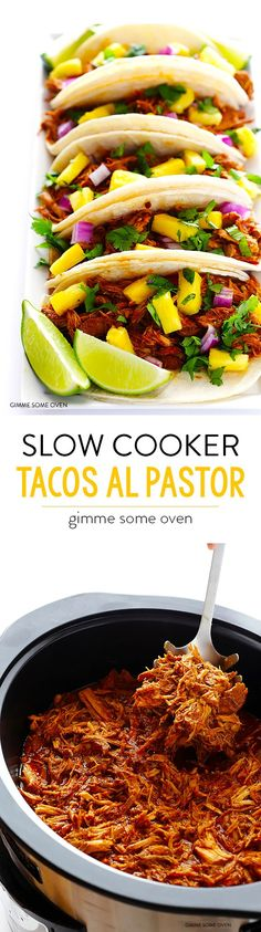 Cooker Tacos Al Pastor Slow Cooker Tacos Al Pastor -- let your crock pot do all of the work with this traditional pineapple pork tacos recipe! So delicious and always a crowd favorite!Slow Cooker Tacos Al Pastor -- let your crock pot do all of the work wi Slow Cooker Tacos, Crock Pot Slow Cooker, Crock Pot Cooking, Slow Cooker Recipes, Cooking Recipes, Crockpot Meals, Dinner Crockpot, Pork Recipes, Mexican Food Recipes