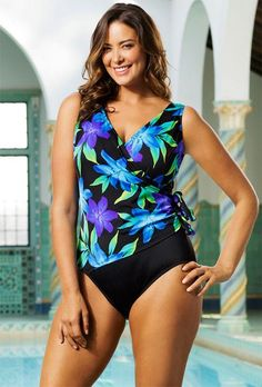 cc29c17530 Longitude Flamenco Plus Size Side Tie Surplice Swimsuit