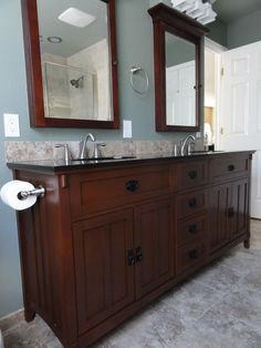 Craftsman Master Bathroom with James martin double bathroom vanity, terracotta tile floors, Flat panel cabinets, Double sink