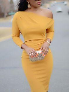 Solid Skew Neck Bodycon Midi Dress Online Dress Shopping, Belted Dress, Bodycon Dress, Side Split, High Waisted Skirt, One Shoulder, Party Dress, Slim, Party Dresses
