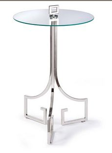 FRN50156 Greek Key Polished Nickel Side Table