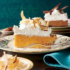 Coconut-Pumpkin Chiffon Pie | Make and refrigerate without the topping a day ahead. Whip and add the topping before serving. | SouthernLiving.com