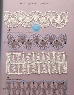 Make hairpin/broomstick lace then do this with it! Picot Crochet, Broomstick Lace Crochet, Hairpin Lace Crochet, Irish Crochet, Crochet Motif, Crochet Hooks, Crochet Stitches Patterns, Crochet Designs, Stitch Patterns