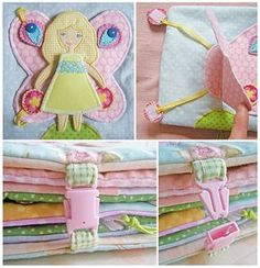 amazing quiet book with an interactive doll that can be set into each page.