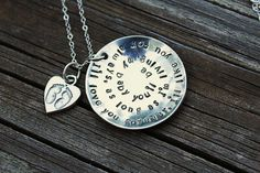 Hand stamped sterling silver necklaceI'll love you by woobiebeans, $53.00