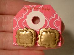 gold and glossy polymer clay quatrefoil earrings. hand sculpted on surgical steel posts. Great Phi Mu sorority bid day earring or gift